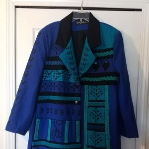 Antthony Mark Hankins Blue Green Wool Jacket 2X